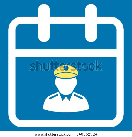 Police Date vector icon. Style is bicolor flat symbol, yellow and white colors, rounded angles, blue background. - stock vector
