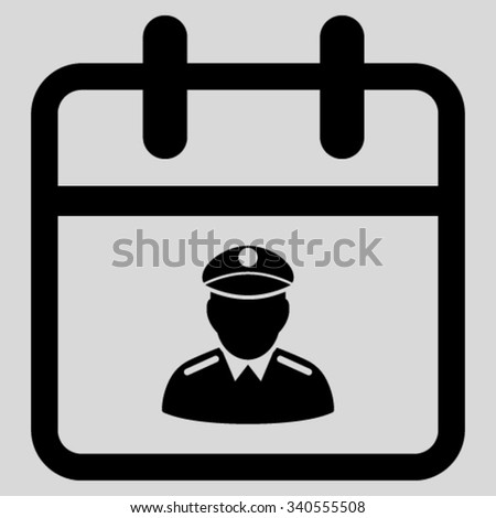 Police Date vector icon. Style is flat symbol, black color, rounded angles, light gray background. - stock vector