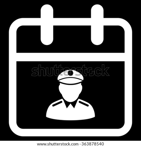 Police Date vector icon. Style is flat symbol, white color, rounded angles, black background. - stock vector
