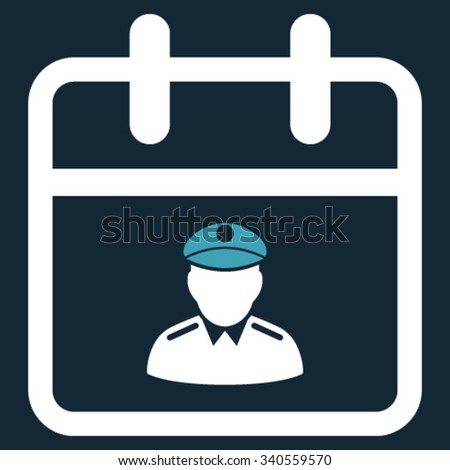 Police Day vector icon. Style is bicolor flat symbol, blue and white colors, rounded angles, dark blue background. - stock vector