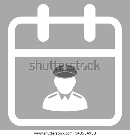 Police Day vector icon. Style is bicolor flat symbol, dark gray and white colors, rounded angles, silver background. - stock vector