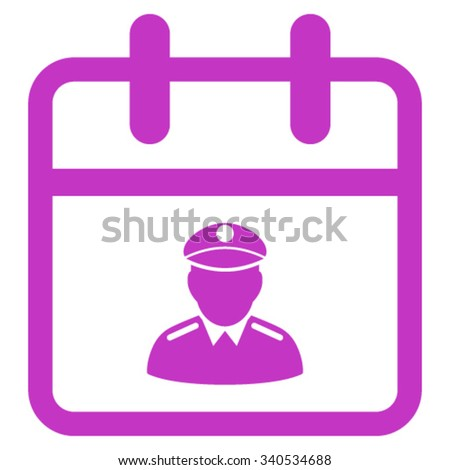 Police Day vector icon. Style is flat symbol, violet color, rounded angles, white background. - stock vector