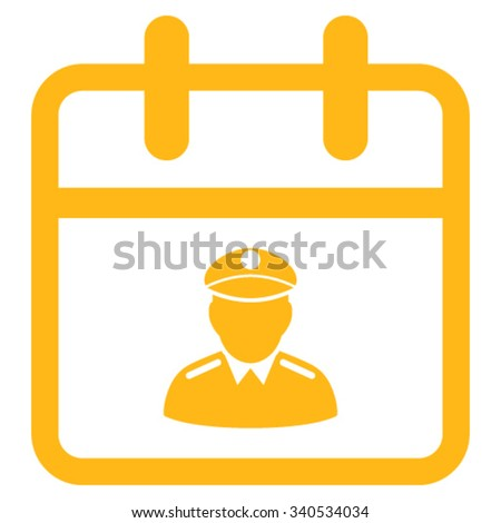 Police Day vector icon. Style is flat symbol, yellow color, rounded angles, white background. - stock vector