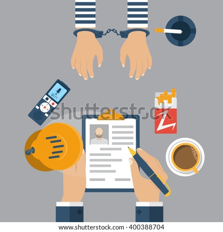 Police detective interrogating a prisoner in handcuffs. Investigation. Cop interrogating a prisoner, record the conversation on dictaphone. Vector illustration,  flat style. - stock vector