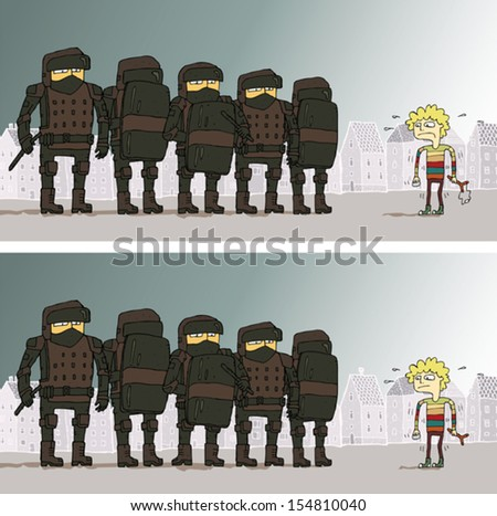 Police Differences Visual Game. Task: find 10 differences! Solution in hidden layer (vector file only). Illustration is in eps8 vector mode! - stock vector