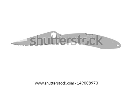 Police folding tactical knife vector illustration isolated on white - stock vector