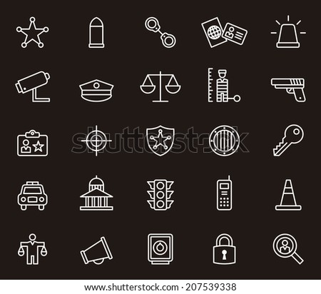 Police icons - stock vector