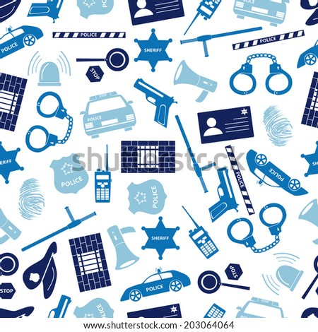 police icons blue color seamless pattern eps10 - stock vector