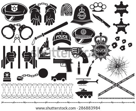 police icons set (british bobby helmet, hat, bat, hands in handcuffs, revolver, chain with shackle, sheriff star shield, barbed wire,  bullet hole in glass) - stock vector