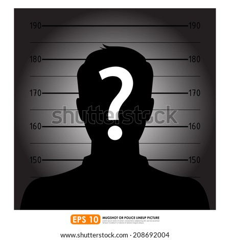 Police lineup or mugshot of anonymous male silhouette - stock vector