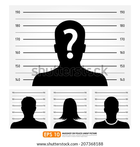 Police lineup or mugshot set - stock vector