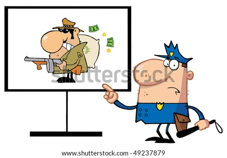 Police Man Pointing To A Robber Sign - stock vector