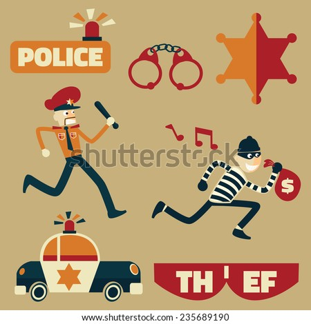 police man uniform caught the criminal. police officer arrested thief - stock vector