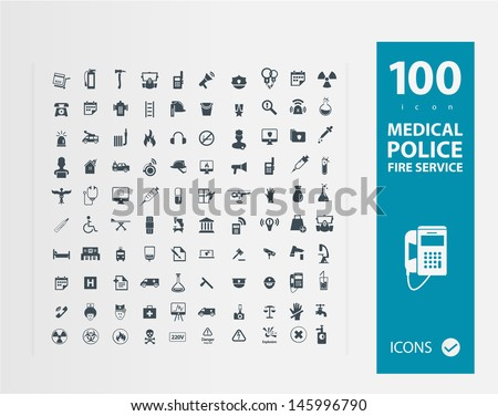 Police , Medical , Fire services icon set - stock vector