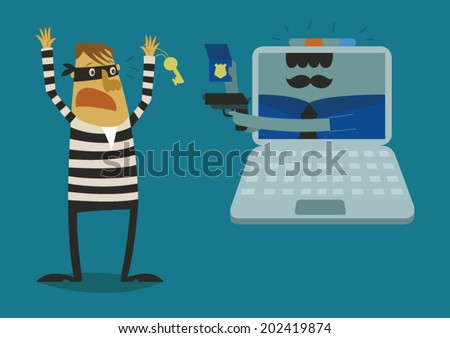 Police of laptop catch the hacker - stock vector