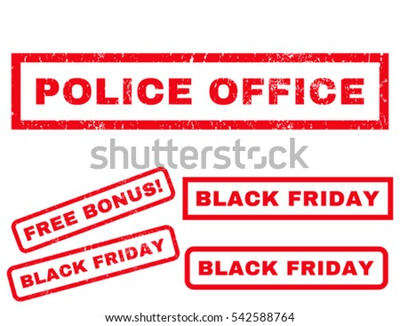 Police Office rubber seal stamp watermark with bonus banners for Black Friday sales. Vector red emblems. Tag inside rectangular shape with grunge design and unclean texture.