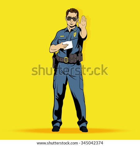 Police officer comics character. Police officer comics art. Police officer comics web. Police officer concept. Police officer concept art. Police officer concept web. Police officer illustration - stock vector
