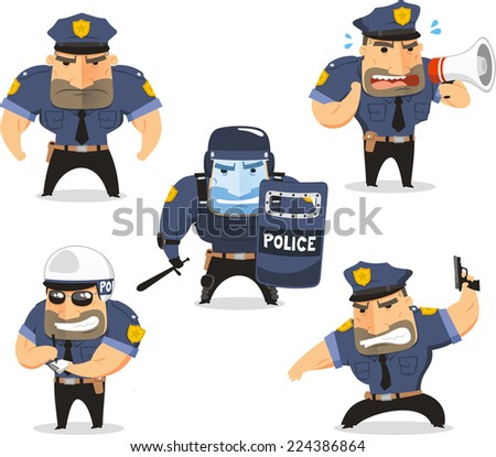 Police Officer Cop Set vector illustration - stock vector