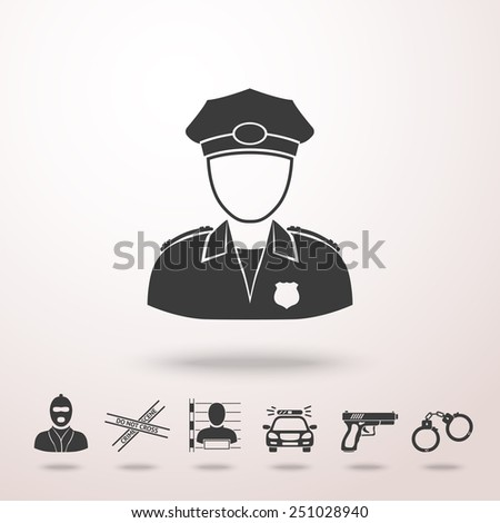 Police officer icon with shadow, and set of  police icons - gun, car, crime scene tape, thief, thief in jail, handcuffs. Vector - stock vector
