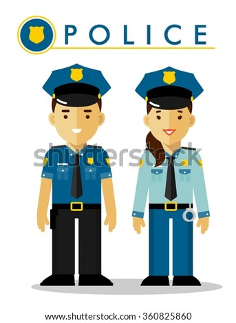 Police officer in uniform. Policeman and policewoman standing on white background in flat style - stock vector