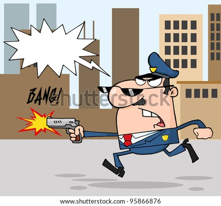Police Officer Running With A Gun And Shooting Through A City.Vector Illustration - stock vector