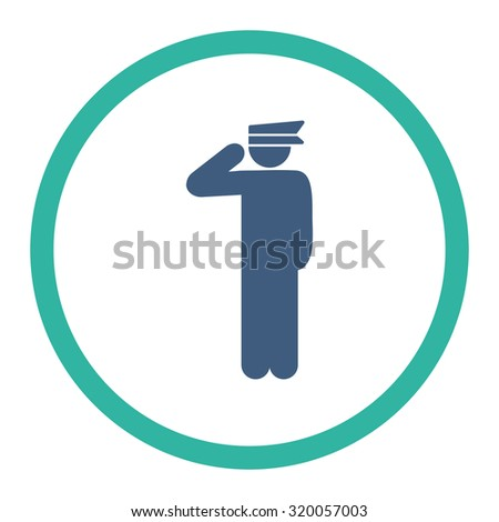 Police officer vector icon. This rounded flat symbol is drawn with cobalt and cyan colors on a white background.