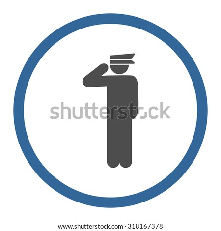 Police officer vector icon. This rounded flat symbol is drawn with cobalt and gray colors on a white background.