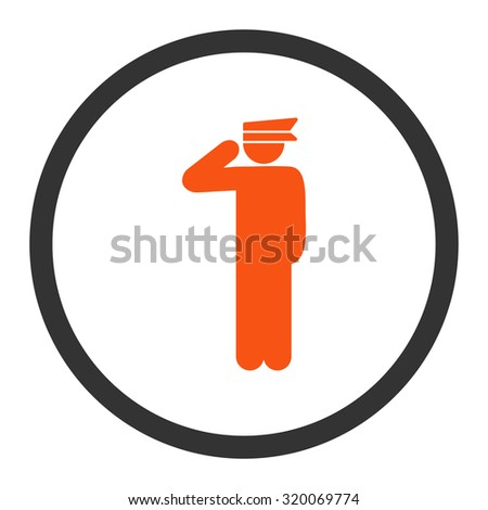 Police officer vector icon. This rounded flat symbol is drawn with orange and gray colors on a white background.