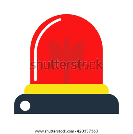 Police or ambulance red flasher siren logo. Flat style flasher alarm with line scatter rays. Flasher alarm design and flasher alarm emergency siren fire police ambulance security sign. - stock vector