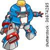 Police Robot Vector Illustration - stock vector