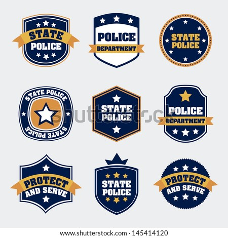 police seals over white background vector illustration - stock vector