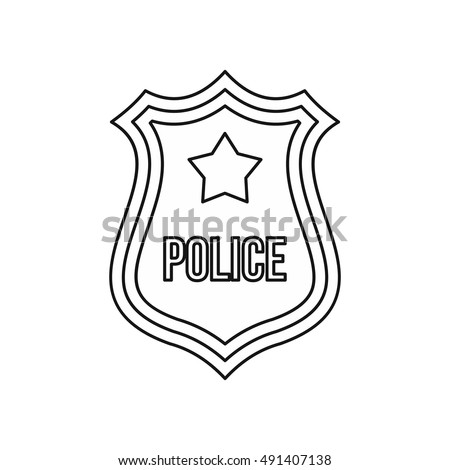 police shield badge icon in outline style isolated on white background vector illustration