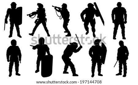 police silhouettes on the white background - stock vector