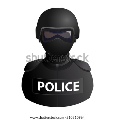 Police specail forces avatar in a mask with glasses icon isolated on white background. Vector illustration - stock vector