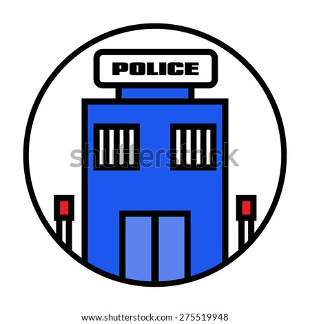 Police Station Icon: Vector - stock vector