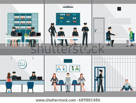Police station interior set office room stock vector Receiving room interior design