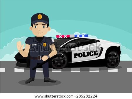 Police stop vector flat illustration - stock vector