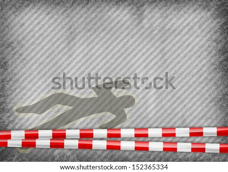police tape with murder silhouette - stock vector