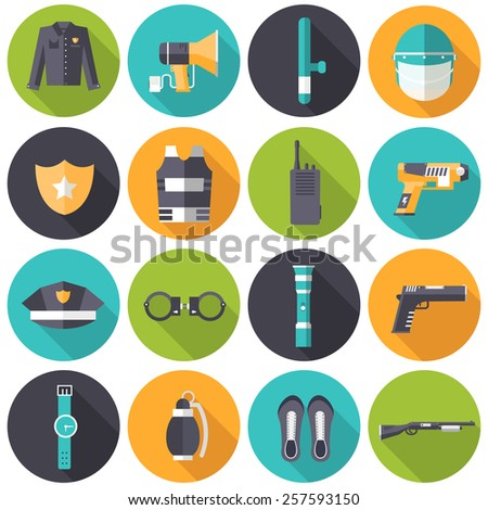 police uniform and set protection icons on isoleted background. Flat style bright concept. Vector illustration for colorful template for you design, web and mobile applications - stock vector