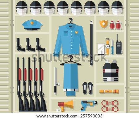 police uniform thin line icons. Radio gadgets