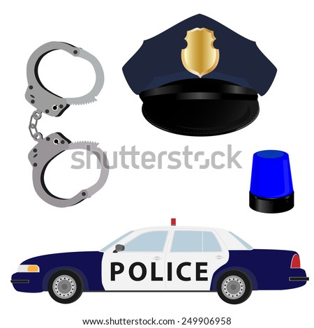 Police vector icon set- police hat,car,handcuffs and light - stock vector