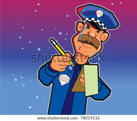 Police Writing Ticket - stock vector