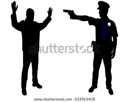 policeman aiming - stock vector