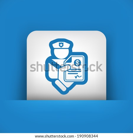 Policeman fine icon - stock vector