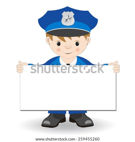 policeman hand with plate - stock vector