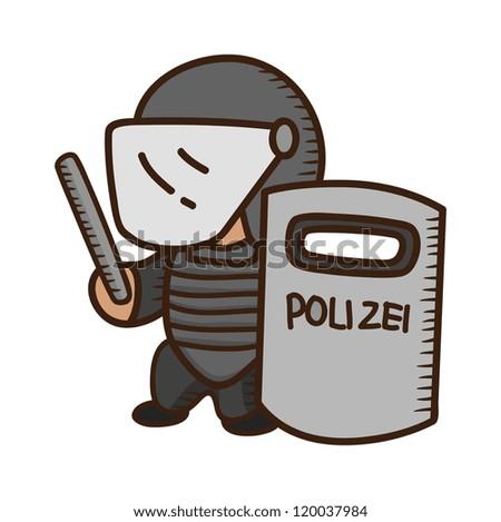 policeman holding shield - stock vector