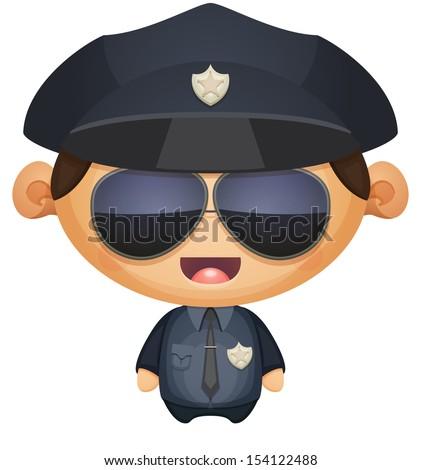 Policeman in Sunglasses - stock vector