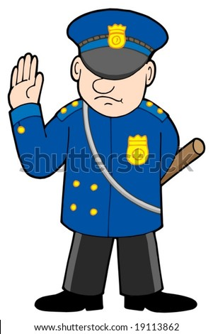 Policeman on white background - vector illustration.