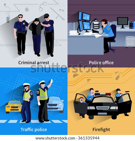 Policeman people 2x2 design compositions of traffic police  criminal arrest police office and firefight flat shadow vector illustration  - stock vector