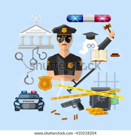 Policeman police officer law and order car justice system criminal judge policeman hat vector illustration - stock vector